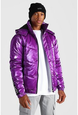 Purple Man Dash Back Detail High Shine Puffer