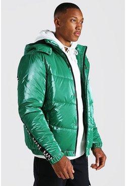 Green Man Dash Back Detail HIgh Shine Puffer