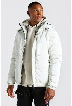 Stone High Shine Hooded Puffer