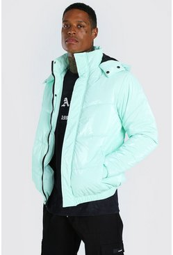 Mint High Shine Hooded Puffer