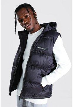 Black MAN Branded Padded Gilet