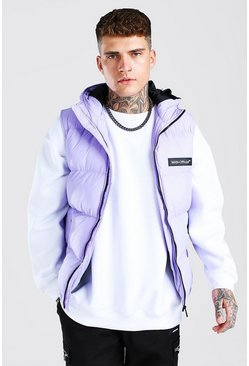 Lilac Man Branded Padded Gilet