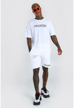 White Man Official Back Print T-Shirt & Short Set