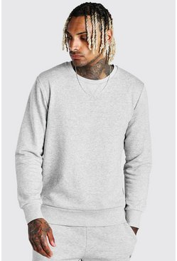 Grey marl Basic Crew Neck Sweatshirt