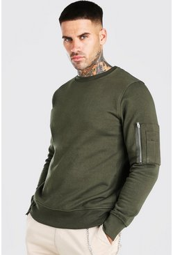 Khaki Crew Neck Sweatshirt With Zip Detail