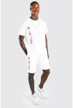 Ensemble t-shirt et short arc-en-ciel brodé Man, Blanc