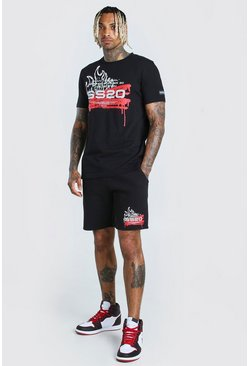 Ensemble t-shirt et short imprimé graffiti SS20, Noir