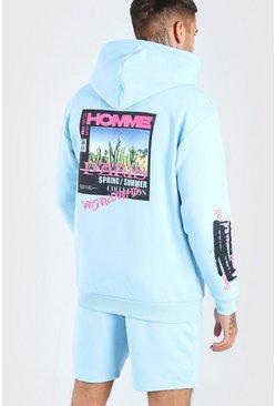 Blue Homme Back Print Hooded Short Tracksuit