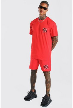 Red Man Graffiti Wire Printed T-Shirt & Short Set