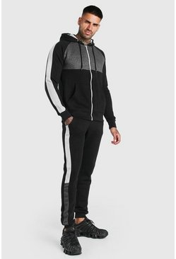 Black Colour Block Zip Hooded Tracksuit