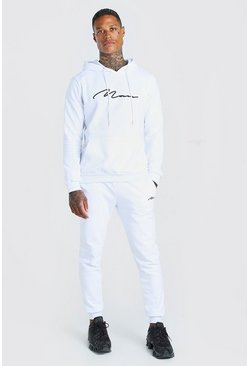 White Man Signature Embroidered Hooded Tracksuit
