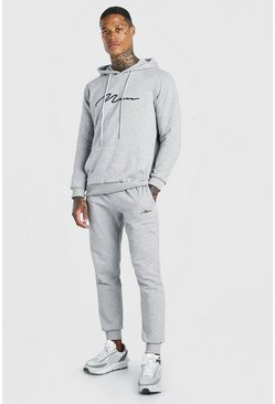 Sweat à capuche brodé et pantalon de survêtement - MAN, Gris chiné