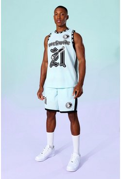 Blue Mesh Badge Basketball Vest And Short Set