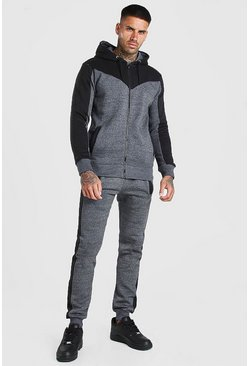 Charcoal Contrast Panel Zip Through Hooded Tracksuit