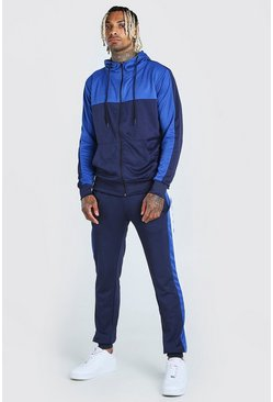 Navy Poly Zip Through Hooded Tracksuit With Panels