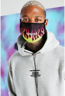 Green Quavo Flame Print Fashion Mask