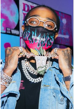 Pink Quavo Flame Print Fashion Mask