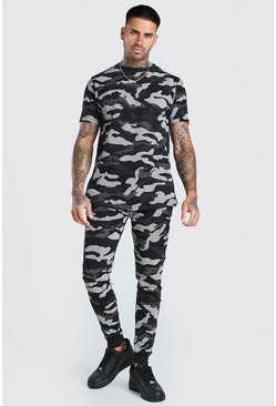 Black Camo T-Shirt And Jogger Set
