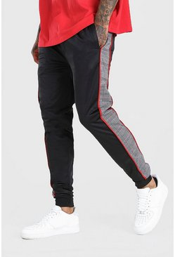 Black Skinny Fit Jogger With Jacquard Side Panel