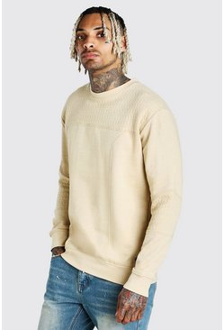 Stone Panelled Crew Neck Sweatshirt