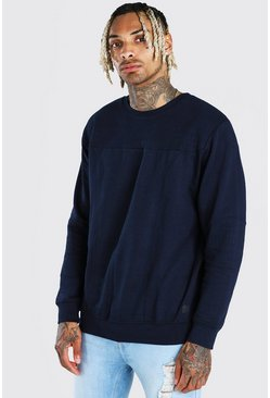 Navy Panelled Crew Neck Sweatshirt