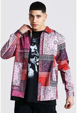Pink Long Sleeve Bandana Patchwork Overshirt