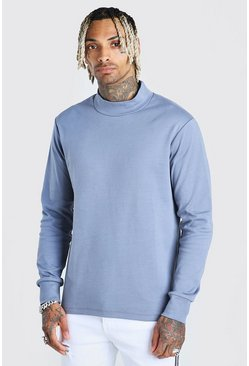 Blue Extended Neck Sweatshirt