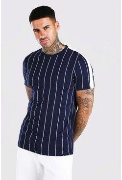 Navy Vertical Stripe T-Shirt