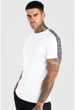 White T-Shirt With Sleeve Tape
