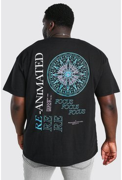 Black Big and Tall Re-Animated Print T-Shirt