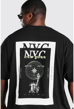 Black Big & Tall NYC Back Print T-Shirt