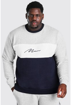 Blue Big and Tall MAN Script Colour Block Sweater