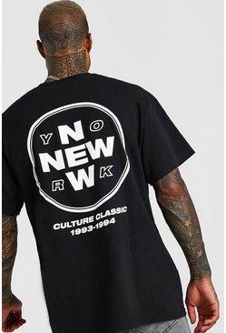 Black New York Back Print Oversized T-Shirt
