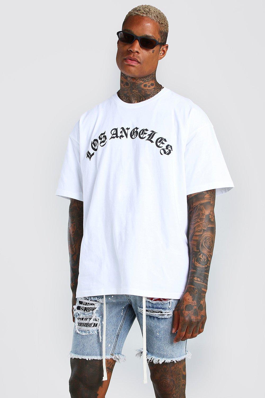 Oversized Los Angeles Print T-Shirt   BoohooMAN