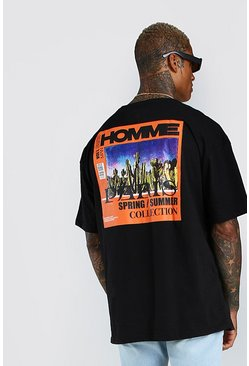 Black Oversized MAN Official 'Homme' Printed T-Shirt