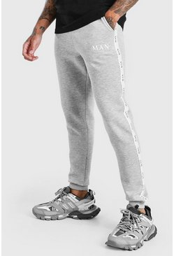 Joggings skinny avec bande MAN, Gris chiné