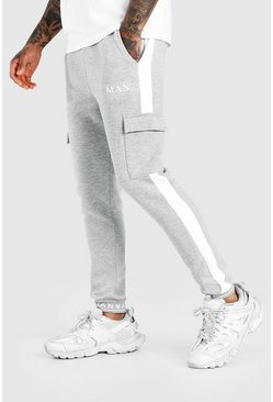 Grey marl MAN Skinny Fit Embroided Cuff Cargo Jogger