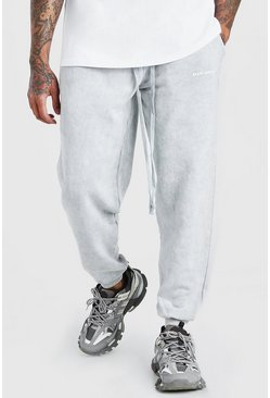 Light grey MAN Official Print Acid Wash Loose Fit Jogger