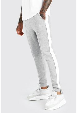 Grey marl MAN Skinny Fit Jogger With Piping Side Panel