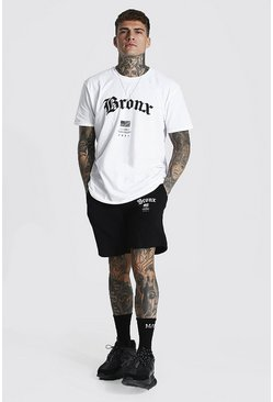 Oversized Bronx Hi-lo T-shirt & Short Set, White