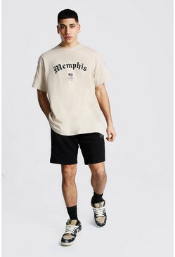 Oversized Memphis Hi-lo T-shirt & Short Set, Sand