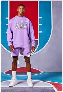 Purple Oversized Los Angeles Sweater Short Tracksuit