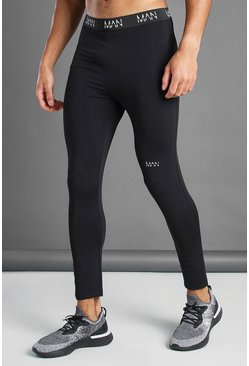MAN Active Trainings-Tights mit Bund, Schwarz