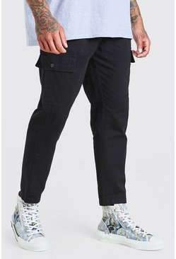 Black Fixed Waistband Cargo Trouser