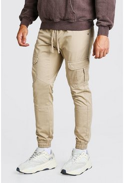 Stone Skinny Fit Cargo Trouser With Cuff