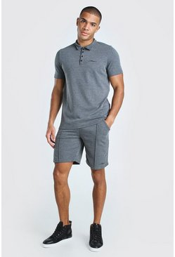 Ensemble short à rayures fines et polo signature MAN, Gris
