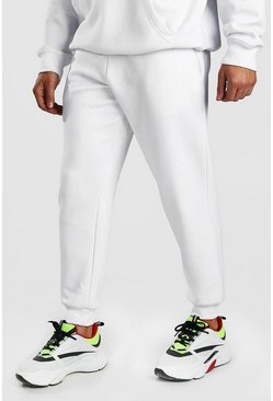 White Basic Loose Fit Jogger