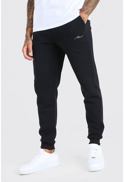 Black MAN Signature Slim Fit Joggers