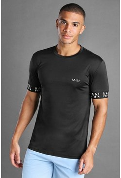 Black MAN Active Muscle Fit T-Shirt With MAN Cuff Detail