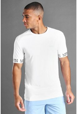 White MAN Active Muscle Fit T-Shirt With MAN Cuff Detail